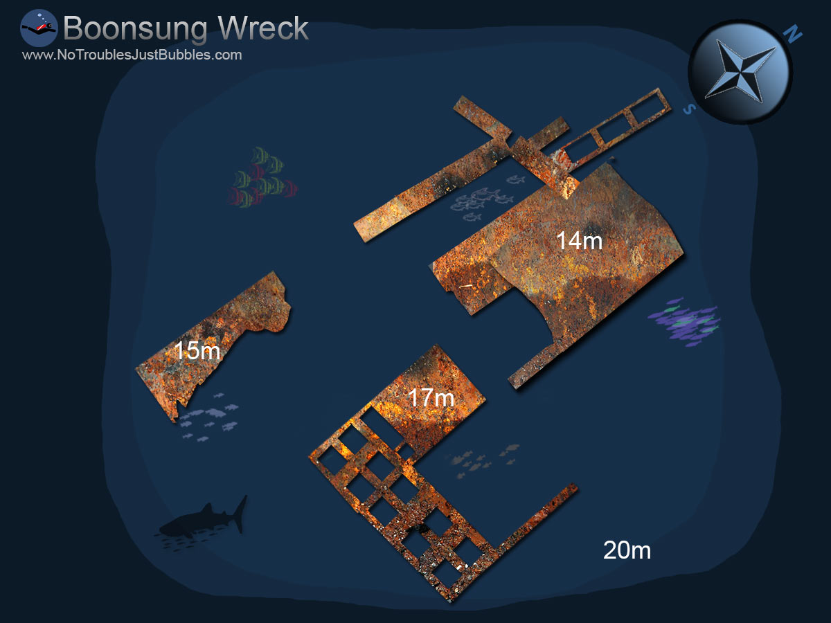 Boonsung Wreck dive map