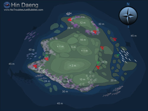 Hin daeng scuba dive site map