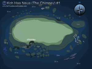 Koh haa neua no 1 The Chimney scuba dive site map