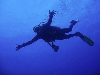 Diver at High Rock Mergui Archipelago Myanmar Burma no troubles just bubbles